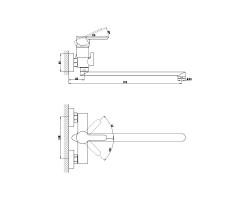 Смеситель для ванны и душа Gross Aqua Moderna с длинным изливом 350 мм