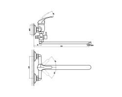 Смеситель для ванны и душа Gross Aqua Mini с длинным изливом 350 мм