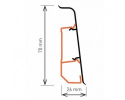 Плинтус Arbiton INDO 70 мм с кабель каналом мягкий край INDO70 03 Дуб лофт 2,5 м
