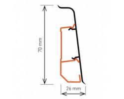Плинтус Arbiton INDO 70 мм с кабель каналом мягкий край 17 Алюминий 2,5 м
